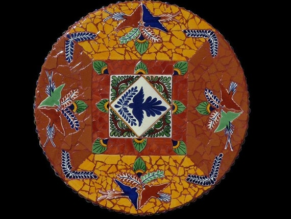 Lazy Susan Mosaic, Table Top, or Wall Hanging Made with Talavera Tile, Bird Mosaic Lazy Susan, Southwestern Decor