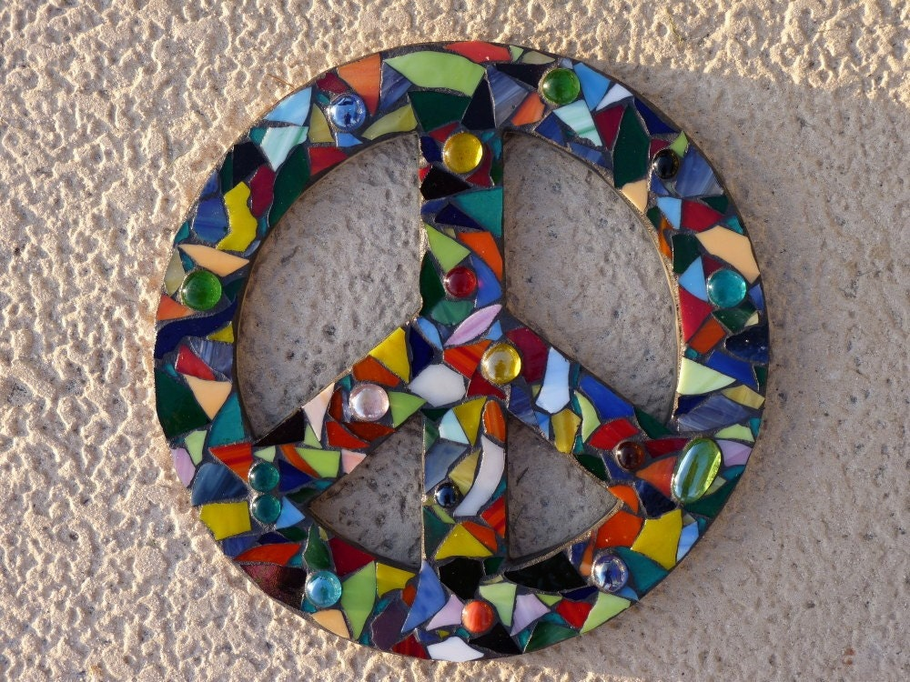 Stained Glass Mosaic Peace Sign