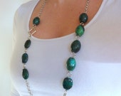 SALE - Mely Long Necklace - Blue-green Chrysocolla and Silver