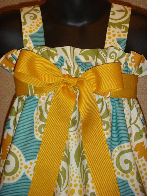 Teal and Gold Floral Secret Garden fabric by Michael Miller - Zadee Dress