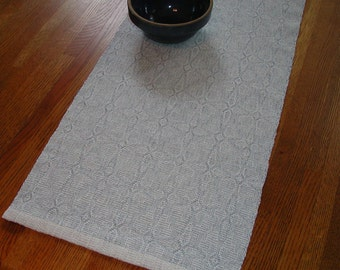 Handwoven Table Runner  Organic Cotton/Linen Blend and Cottolin