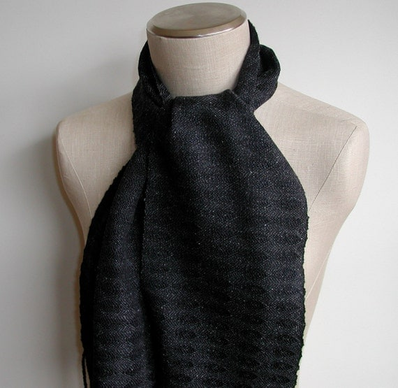 Handwoven Scarf in Black and Charcoal Silk, Wool and Cotton