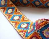 1 YARD Mustard and Blue Indian saree ribbon