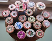 22 Vintage Spools of Wooden Thread, Many Colors, Reserved for Betty