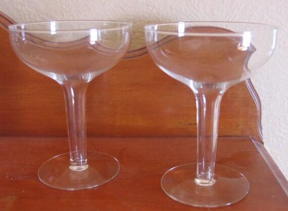 Vintage crystal hollow stem champagne glasses bride and groom - Hollow stem champagne glasses ...