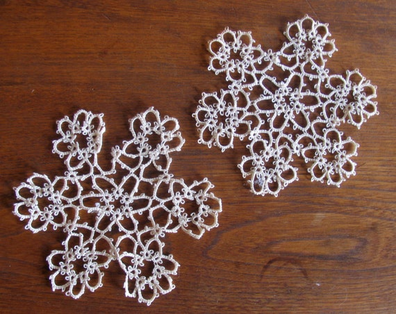 Two Small Vintage Tatted White Doilies, perhaps for upcycling