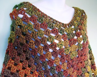 Poncho In Autumn Colours of Burnt Orange Green Red and Brown (Ready to ship) Women