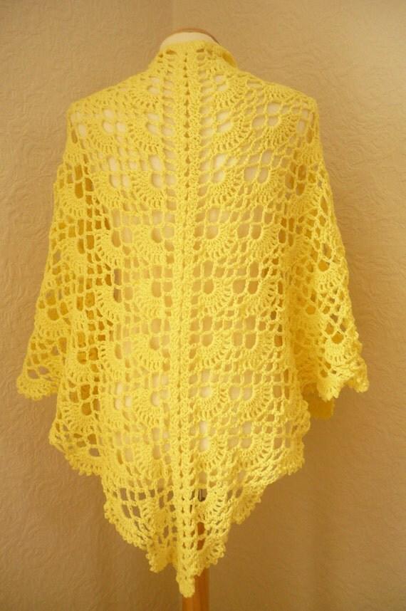 Yellow Triangular Shawl Crochet -- Sunshine