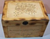Wood  Burned Personalized Wedding Tree of Hearts Gift Card Box