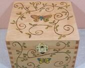 Small Wood Burned Keepsake Box