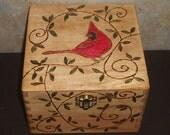 Wood Burned Cardinal Box
