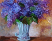 RESERVED FOR AZURE - Lilac Bouquet - Original Oil Painting