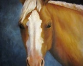 Horse Painting,Oil Painting,18x24,Original, Buckskin,Blue,Blonde,Canvas Painting,Wall Decor, Animal Portrait,Realistic,Blazed Faced Horse