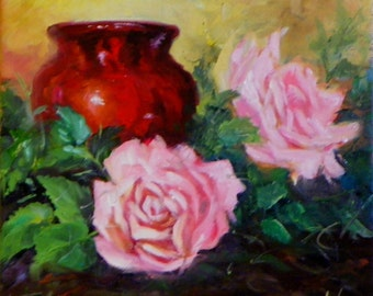 Small Still LIfe Painting Pink Roses Red Vase 10x10 Canvas Original Painting by Cheri Wollenberg