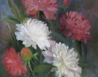 Oil Painting,Floral Still Life, Pink & White Peonies, Original by Cheri Wollenberg
