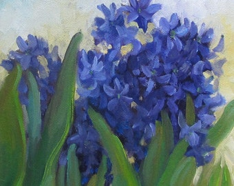 Hyacinth Still Life Painting,Small Original Oil Painting On Canvas, by Cheri Wollenberg