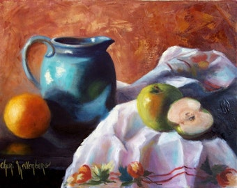 Oil Still Life Painting,  Turquoise Pitcher and Apples Kitchen, Original 11x14 Stretched Canvas