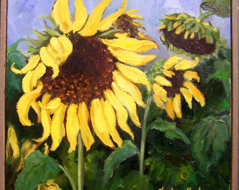 Still Life Painting,Yellow Sunflower Painting, Original Oil FLORAL, Framed 12x12 Stretched Canvas by Cheri Wollenberg