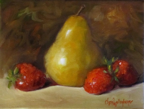 Pear and Strawberries - Original Oil Painting