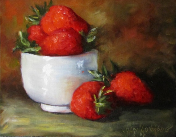 Strawberries in Rice Cup - Original Oil Painting