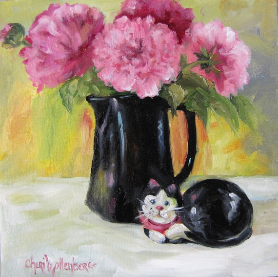Pink Peonies and Black Ceramic Cat Canvas Original Painting by Cheri Wollenberg