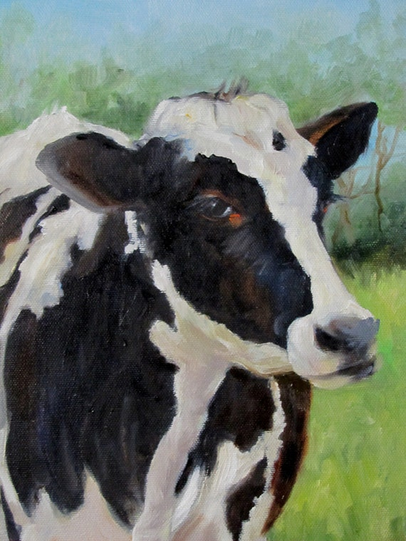 Black and White Holstein Cow Canvas Painting 12x24  Original Oil Painting by Cheri Wollenberg