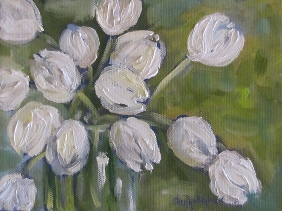 White Tulips Painting Spring 2012 Floral Original Oil Painting by Cheri Wollenberg