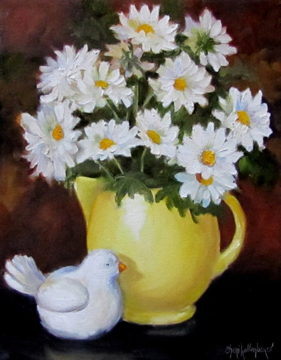 Original Oil Painting of White Daisies by Cheri Wollenberg