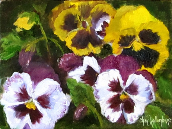 Realistic Floral Oil Painting of Pansies on Canvas Original Painting by Cheri Wollenberg