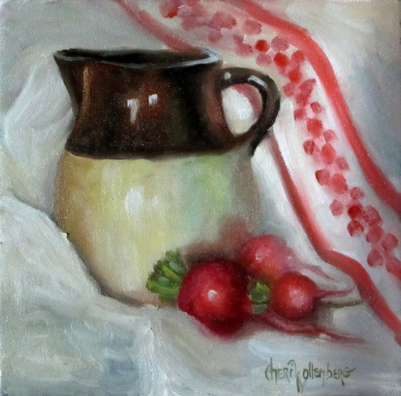 Still Life Oil Painting 8x8 Canvas Original  Crock Pitcher with Radishes by Cheri Wollenberg