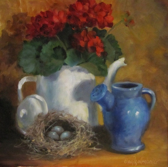 Still Life Painting Bird's Nest and Red Geraniums12x12 Original Oil Painting by Cheri Wollenberg