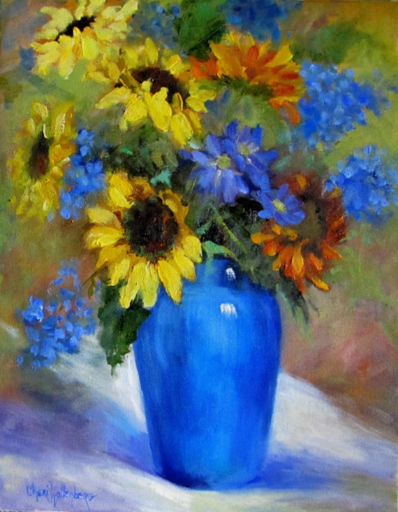Cobalt Blue Vase  and Sunflowers Still Life Original 11x14 Canvas Painting by Cheri Wollenberg