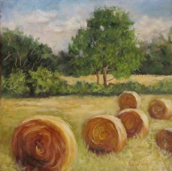 Original Landscape Oil Painting of Round Bales of Hay II Canvas Original 12x12 by Cheri Wollenberg