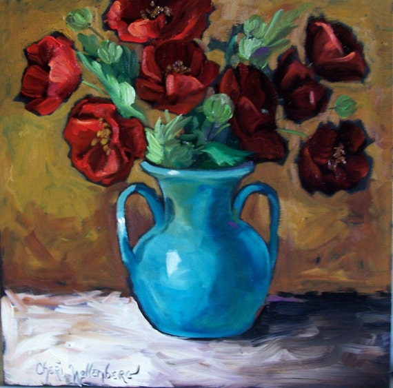 Red Poppies in Turquoise Vase - Original Oil Painting - 12x12 Stretched Canvas