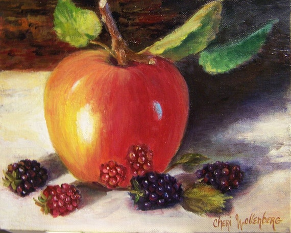 RESERVED FOR MARILYN - Apple and Raspberries - Original Oil Painting