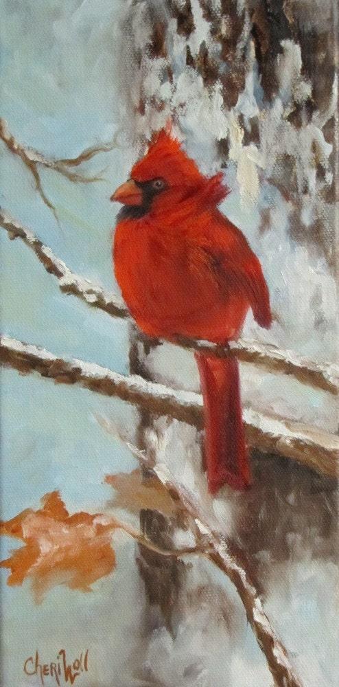 Cardinal Bird in the Snow Original Oil Painting
