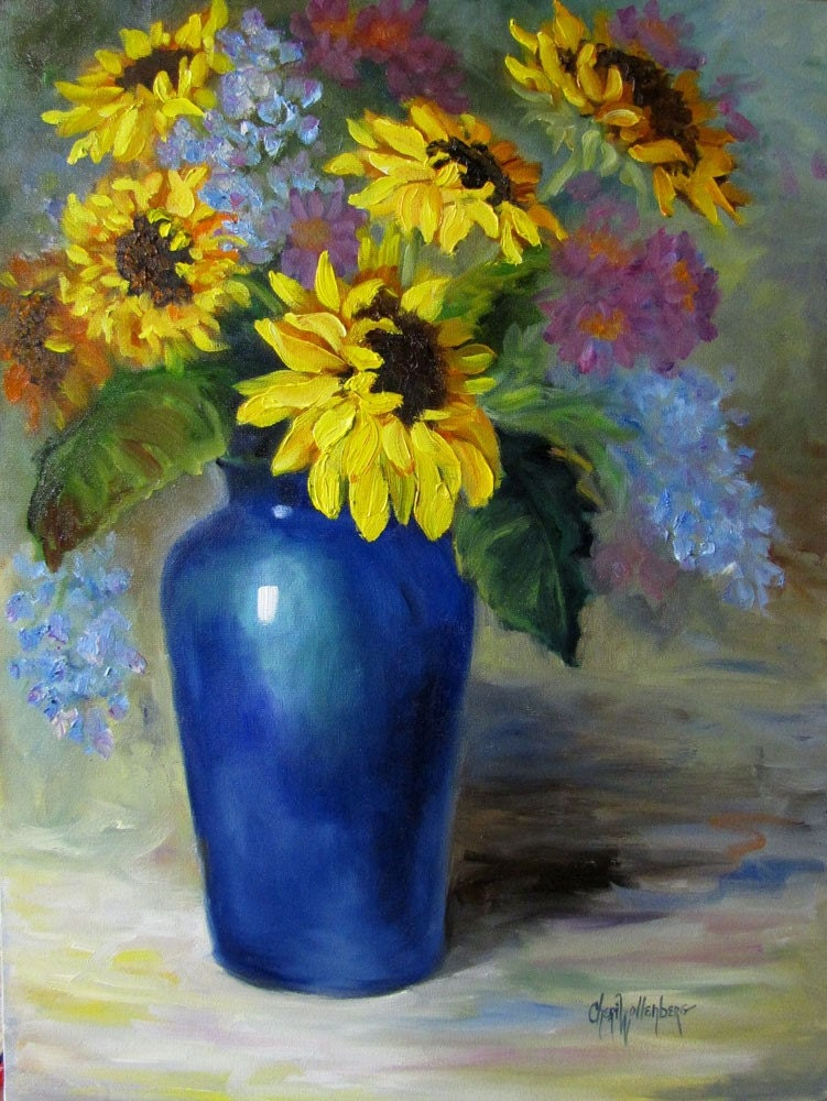 Sunflowers in Cobalt Blue Vase Original Oil Painting