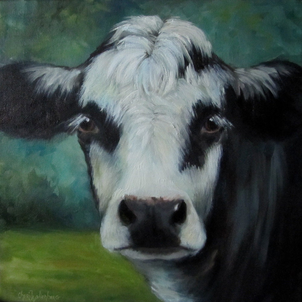 cow oil painting felix 12x12 canvas black baldie original. Black Bedroom Furniture Sets. Home Design Ideas