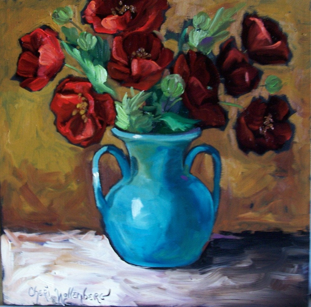 Red Poppies In Turquoise Vase Original Oil Painting 12x12