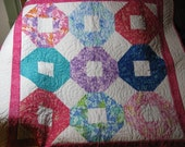 Circles and Squares Baby or Toddler Quilt - 45 x 45 - free shipping