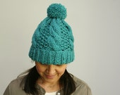 Hand Knit, Bulky Folded Brim Hat with Cables and Pom Pom. Soft Merino Wool, in Pacific.