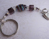 fatdog Keychain - KC901 Blue and Purple Dichroic Glass Bead with Sterling Silver Charm
