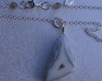 fatdog Necklace - N113 Light Blue Chalcedony Pendant
