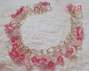 fatdog The Sweetest Things Bracelet - ST124 Pink Glass Disc with Crystals