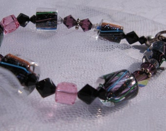 fatdog Bracelet - B1026 Black Sparkle Cane Glass and Crystal