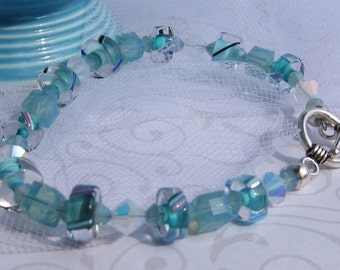 fatdog Bracelet - B1025 Aqua Cane Glass and Crystal