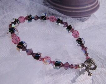 fatdog Bracelet - B1031 Black, Pink and Purple Cane Glass and Crystal