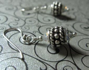 fatdog Earrings - EB102 Sterling Silver Bead and Swarovski Crystal Clear AB