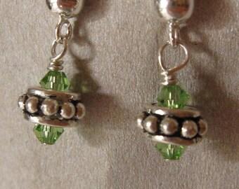 fatdog Earrings - EB502 Sterling Silver Bead and Swarovski Peridot Green Crystal