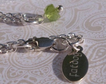 fatdog Necklace - NBS8 Birthstone August Peridot Gemstone